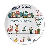 クリスマス雪だるまFestivalサンタクロース装飾磁器デザートプレート8インチディナーホームギフト