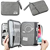 Double Layer Electronic Accessories Organizer, Travel Gadget Bag for Cables, USB Flash Drive, Plug and More, Perfect Size Fits for iPad (L-Grey)