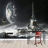 Xueshao 壁紙3D子供用月面宇宙ステーション壁紙Forベッドルーム壁壁紙リビングルーム壁画3D-280X200Cm