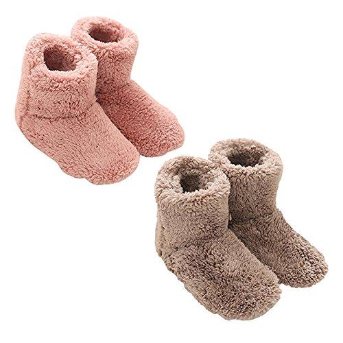 Mianshe 2足セット 北欧 暖かい もこもこ ルームシューズ 男女兼用 足首まで暖かルームブーツ 冬用 防寒 ボアスリッパ (ピンク・ベージュ Mサイズ 24.5cmくらいまで)