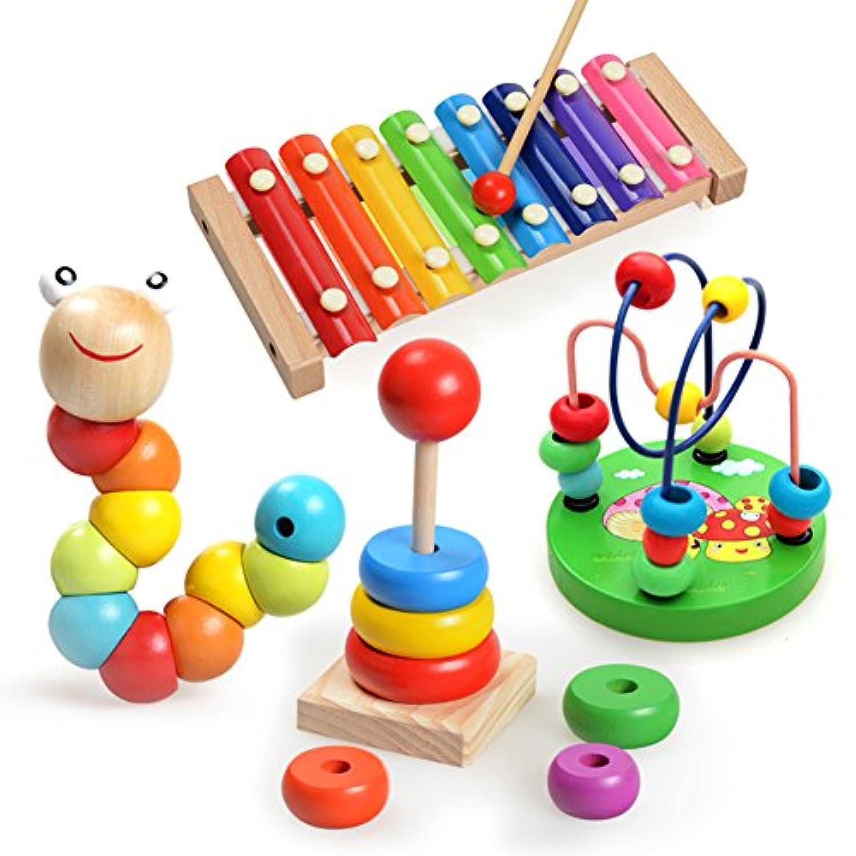 早期教育楽器音楽玩具木製手ノックピアノGuoqin Octave 4点/セット ブラック VFP-20171128-C33