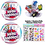 5 Surprise (2 Pack) Mini Brands Collectible Ball Includes Puffy Dinosaur Sticker Pack
