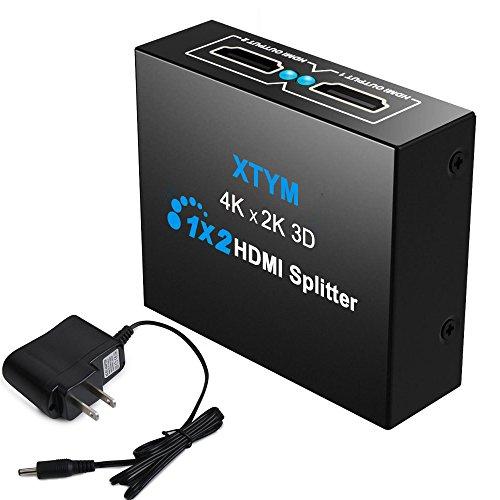 HDMI 分配器 1入力2出力 HDMI分配器 1x2サポート4K HDMIスプリッターデュアルモニター 1×2 HDMIスプリッター 2台のHDMI搭載機器 PS4 Blu-ray DVD HDカムコーダー HTPC等機器 に出力可能 フルハイビジョン |ハイビジョン4K 1080P 3Dを支持しています