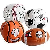 Liebeye ベビーハンドキャッチソフトボール 赤ちゃんの柔らかい表情笑顔のサッカーサッカーのおもちゃの手キャッチ軟球のおもちゃ新生児のためのベストギフト 4本 10センチメートル