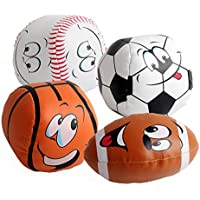 amyoveボールおもちゃ4個10 cmベビーソフト式Smiling Face Football SoccerおもちゃHandキャッチソフトボールおもちゃ新生児の最適なギフト