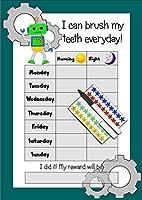 ハッピー学習者の子供の歯ブラシの報酬表、90ステッカー&ペン - ROBOTS