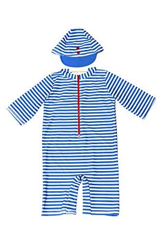 【Babystity】 子供 ベビー 男の子 ボーダー柄水着 帽子 2点セット (70cm-80cm)
