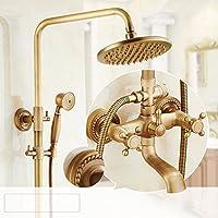 真鍮サーモスタットシャワーセット、8インチラウンドシャワーヘッド、バスルームハンドヘルドシャワーヘッド、トリプルアウトレット、360°回転(オール銅)
