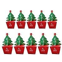 LIOOBO 10ピースクリスマスキャンディーボックスパーティー好意クリスマスイブボックス付きベルクリスマスパーティーバッグギフトボックス