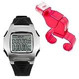 La bellezza レフェリーウォッチ サッカー ストップウォッチ 10LAP クロノグラフ カウントダウンタイマー 多機能腕時計 (ホイッスル赤)