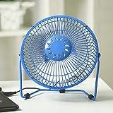7インチファンUSBミニメタルファン寮事務良いミュート最大の風があなたのデスクトップを運びます (色 : 青)