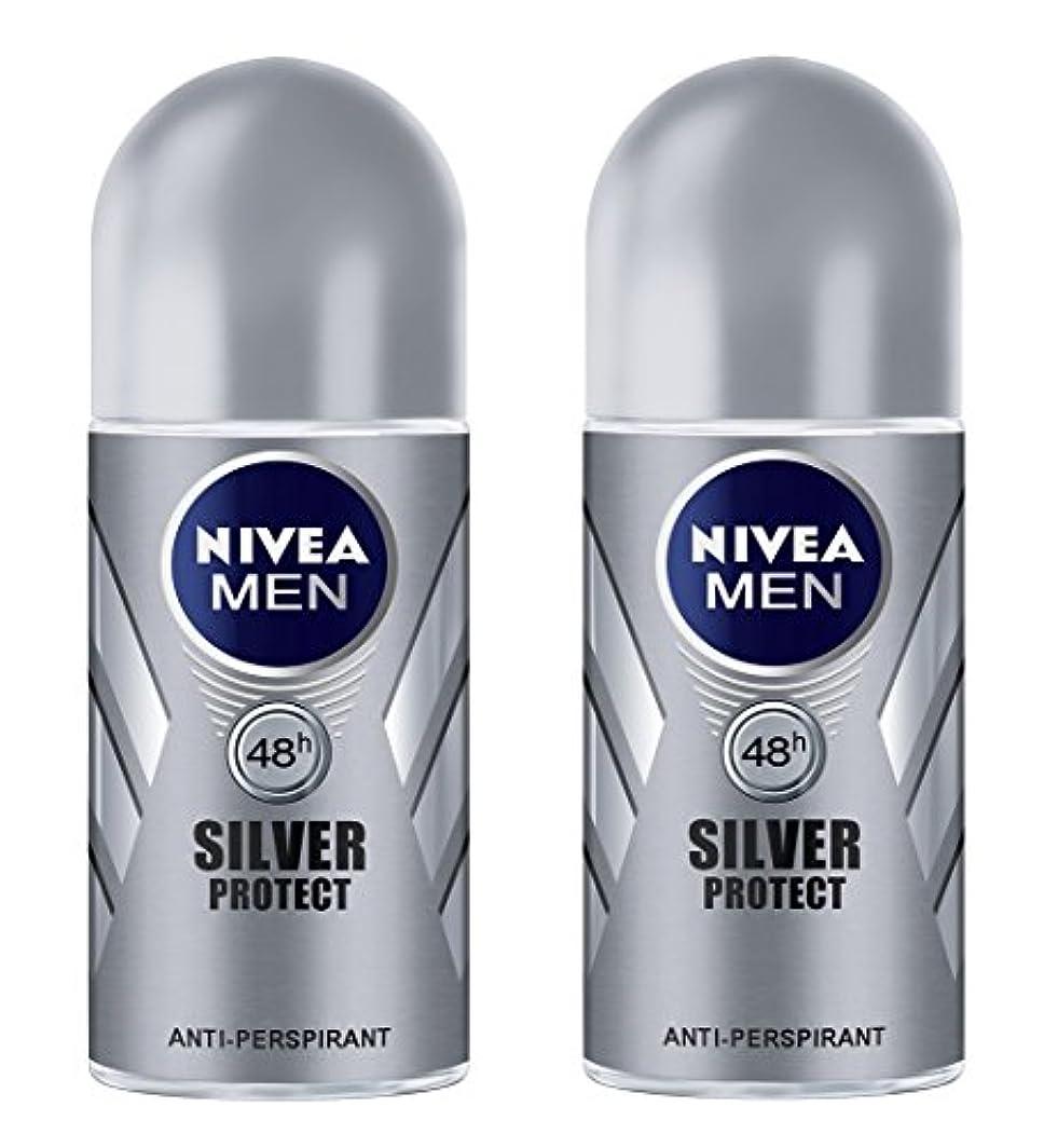 カーフ湿度カフェテリア(Pack of 2) Nivea Silver Protect Anti-perspirant Deodorant Roll On for Men 2x50ml - (2パック) ニベア銀保護する制汗剤デオドラントロールオン...