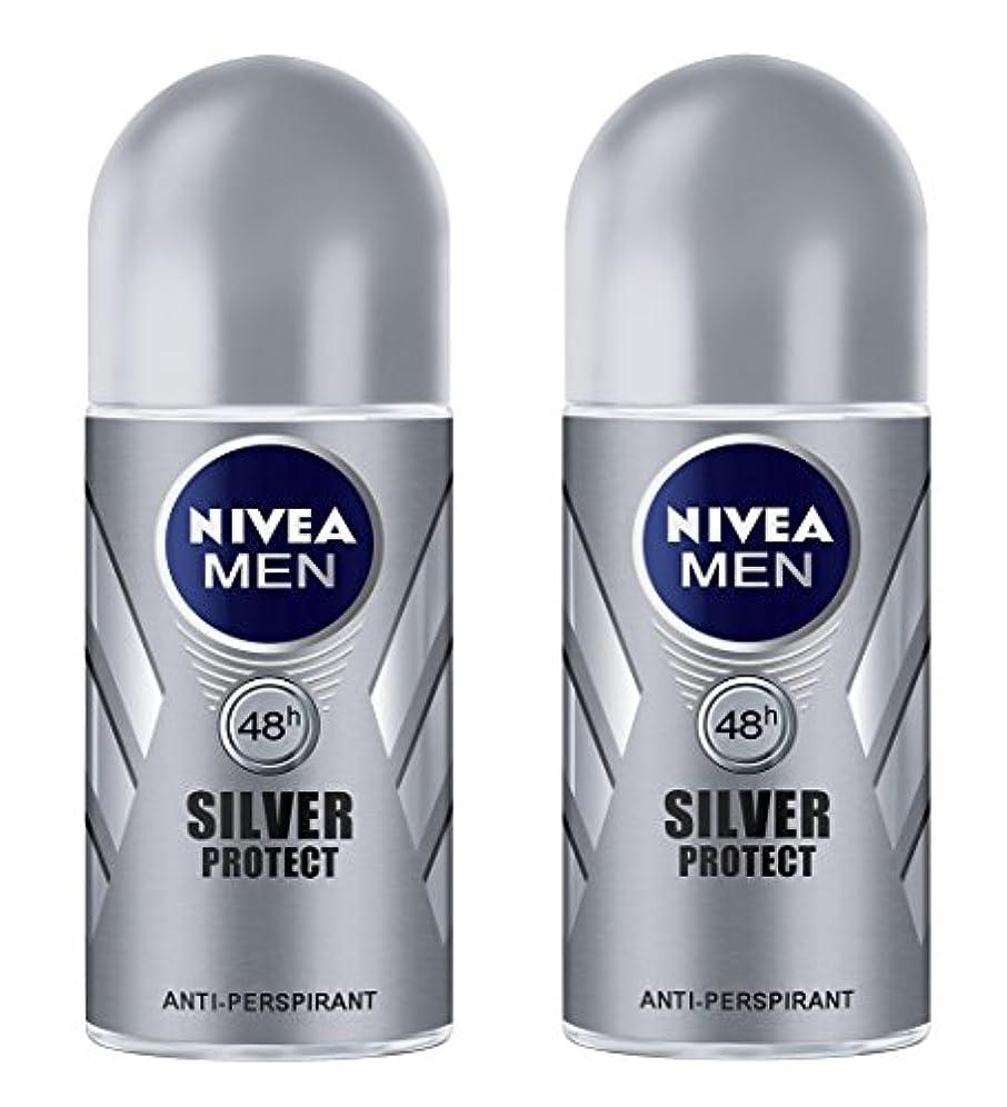 行き当たりばったりオークランド無一文(Pack of 2) Nivea Silver Protect Anti-perspirant Deodorant Roll On for Men 2x50ml - (2パック) ニベア銀保護する制汗剤デオドラントロールオン...