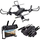 HuiShuTek FPV RC Quadcopter Drone with Dual Camera 720P HD Live Video WiFi 2.4GHz 6-Axis Gyro, Optional Sight, One Key Return and Headless Mode, Altitude Hold,RTF Drone for Kids&Beginners ,Foldable