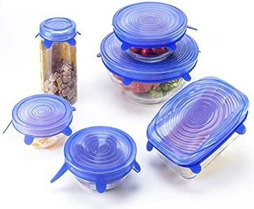 ANPHSIN セール 密閉蓋 シリコン蓋 密閉 変形自在 耐冷耐熱 食品ラップ 再利用カバー 調理 貯蔵 (6枚セット)