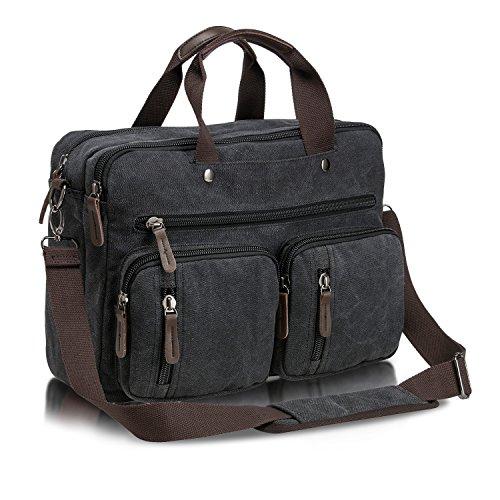 Coreal 丈夫な帆布 ビジネスバッグ 3way メンズ 手提げ ショルダー リュック A4サイズ対応 パソコンとスーツ収納 通勤 出張 就活バッグ 2/3日宿泊