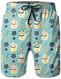 可愛い 猫 メンズ サーフパンツ 水陸両用 水着 海パン ビーチパンツ 短パン ショーツ ショートパンツ 大きいサイズ ハワイ風 アロハ 大人気 おしゃれ 通気 速乾