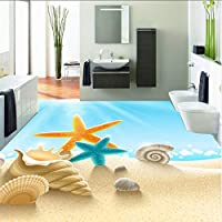 Xbwy カスタム3D Pvc床壁画壁紙海ビーチシェル写真壁画壁紙自己粘着滑り止めフロアステッカールームの装飾-150X120Cm