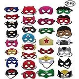 QTFHR Party Masks for Children 30 Piece Superhero Masks Perfect for Children Aged 3+