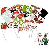 NUOLUX写真ブース小道具、27pcsフォトアクセサリークリスマスウェディング誕生日パーティー