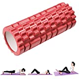 Yescom 33cm Yoga Roller Foam Grid Trigger Point Massage Pilates Physio Gym Exercise EVA PVC Red