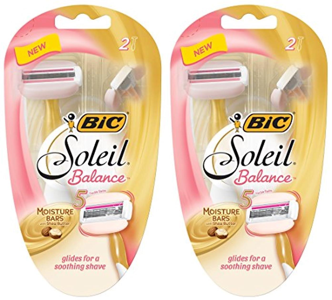 個人的に説明的カーテンBIC 女性のためのソレイユバランスレイザー - 2カウントかみそりパーパッケージ - - シアバターと水分バーは2つのパッケージのパック