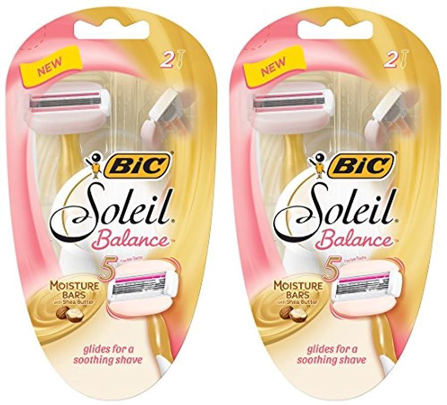 シャツブランク違反BIC 女性のためのソレイユバランスレイザー - 2カウントかみそりパーパッケージ - - シアバターと水分バーは2つのパッケージのパック