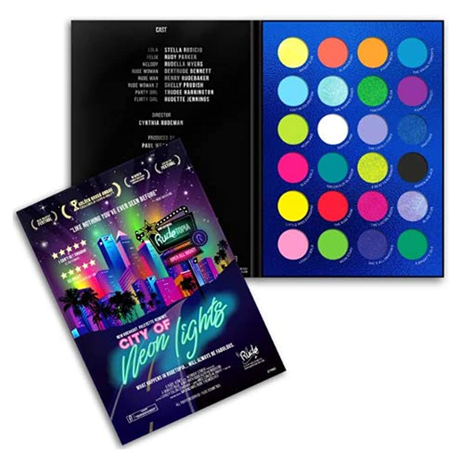 正確指物質RUDE City of Neon Lights - 24 Vibrant Pigment & Eyeshadow Palette (3 Pack) (並行輸入品)