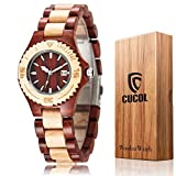 CUCOL メンズ レディース 竹の刻印 牛革 ベルト 腕時計 木製ケース アナログ クォーツ 腕時計 スタイル2