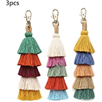 Jlazy Handmade tassel Keychain Colorful Boho Pom Pom Tassel Bag Charm Key Chain