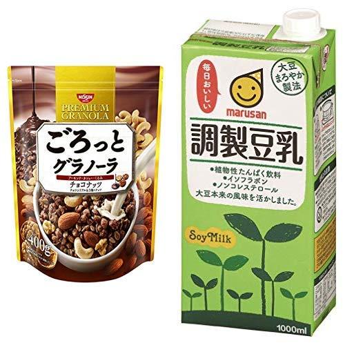 【セット買い】ごろっとグラノーラチョコナッツ400g 400gX6袋 + マルサン 調製豆乳 1L×6本