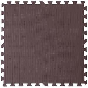 タンスのゲン 3畳用 16枚組ジョイントマット 大判 60cm 床暖房対応 ノンホルムアルデヒド サイドパーツ付き ブラウン単色 18700011 BR