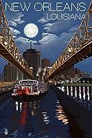 ニューオーリンズ、ルイジアナ州–夜のスカイライン 24 x 36 Signed Art Print LANT-54839-710
