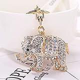 WANLU 人気さんの韓国語バージョンは、色のダイヤモンドの象のペンダントキーチェーンバッグペンダントカーアクセサリーを象眼しました (Color : White)