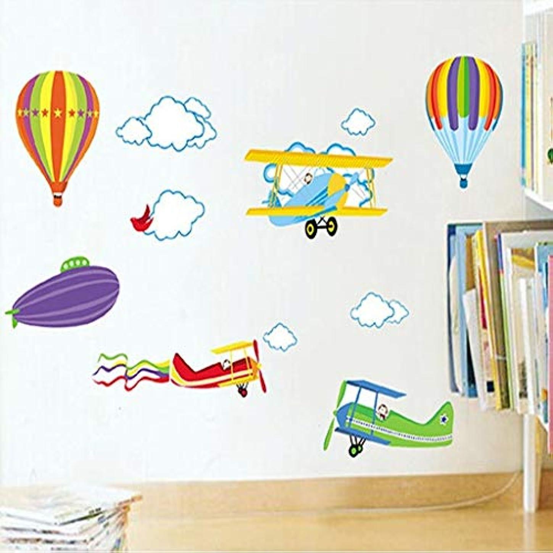 メジャー空中歴史家YSYYSH 子供の漫画の壁のステッカーベビールームの装飾取り外し可能な保育園の子供部屋の壁デカール航空機と熱気球 壁ステッカー壁画
