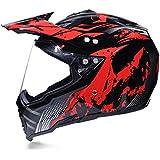 Fashion Creative Motocross Helmet Men's Rally Helmet Personality Cool Locomotive Helmet Road Helmet Full Cover Four Seasons Pretty (Color : Red, Size : L)