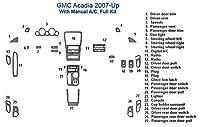 GMC Acadia完全でダッシュトリムキット、マニュアルA / C SKU1299-Chrome Mirror Like
