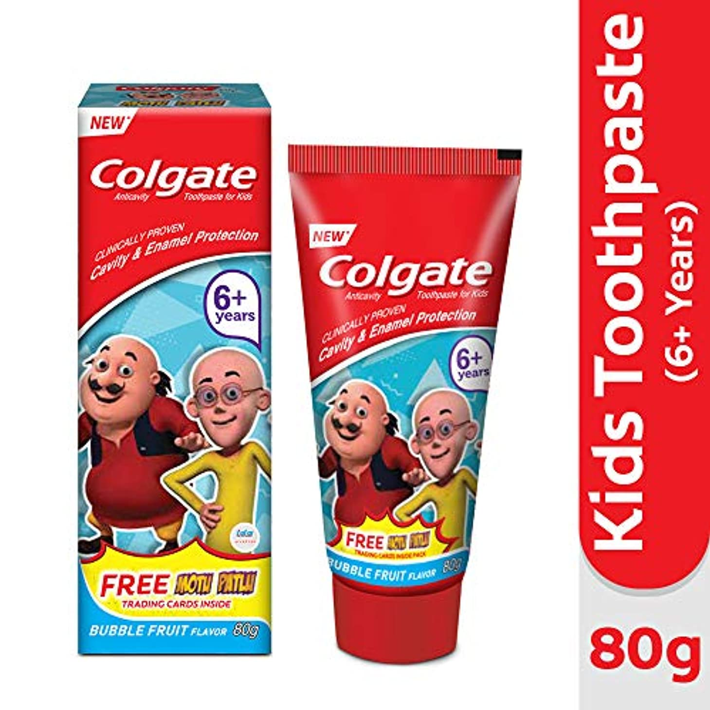 黒モッキンバード彼はColgate Kids Anticavity Motu Patlu Toothpaste (6+ years), Bubble Fruit flavour – 80gm