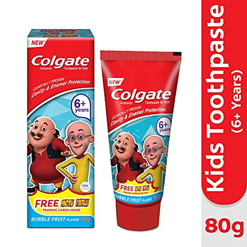 非常に積分完璧Colgate Kids Anticavity Motu Patlu Toothpaste (6+ years), Bubble Fruit flavour – 80gm