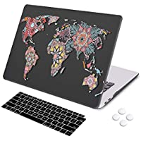 DQQH MacBook Air 13 inch case 2018 Release Retina Display Touch ID,Hard case & Keyboard Cover,Only Compatible MacBook Air 13 inch 2018 Model A1932 Mandala Worldmap