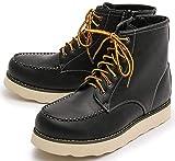 ブラック L(27.0cm?27.5cm) レザー シークレットブーツ シークレット ワークブーツトレッキングブーツ レースアップ ブーツ ショートブーツ シューズ メンズ サイドジップ ハイカット 革靴 スムース カジュアル ミドル ロングブーツ BLGLBB-055-BK-L_d