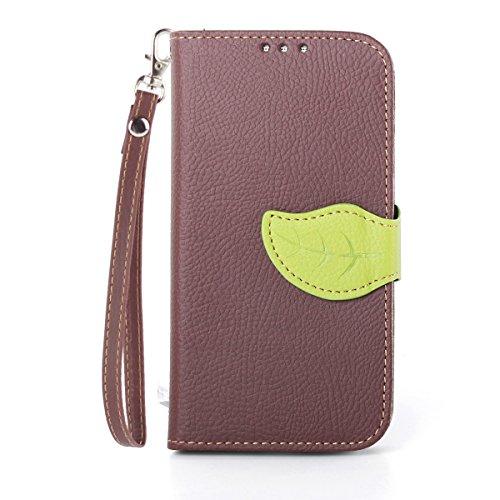 Asng Galaxy S4 手帳型 PUレザーケース [ SC-04E / GALAXY S4 SIMフリー 5 インチ 対応 ] 画面保護 / スタンド / ICカード収納 / ストラップホール Leaf Design TPU Case + ストラップセット (茶&緑)