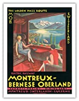 スイス - モントルー - ベルナーオーバーラント電鉄のMOB - ゴールデンパスルート - モントルーインターラーケンルツェルンエクスプレスの列車 - ビンテージな鉄道旅行のポスター c.1925 - アートポスター - 51cm x 66cm