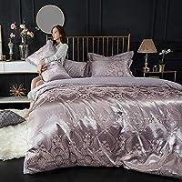 ASdf コットンセットヨーロッパスタイルのコットンサテンジャカード4点セット家庭用日用品ベッド4点セット (色 : P)
