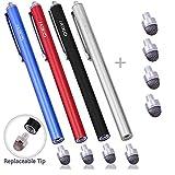 MEKO 4本 高感度 タッチペン 交換式スタイラスペン マイクロニット交換用ペン先4個 iPhone iPad Android タブレット(ブラック、シルバー、レッド、ブルー)