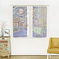 自然の風を通し レースカーテン ストライプミラーレースカーテン 白色 幅100cm×丈100cm 抽象的な家の装飾、シアトルダウンタウン現代都市カラフルなデザインアート油絵効果装飾、