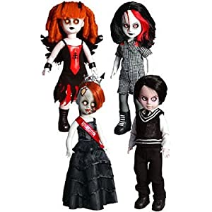 Mezco Toyz Living Dead Dolls 2011 SDCC Exclusive Resurrection V 13th Anniversary Figure Set of 4 Penny, Deadbra Ann, Damien Inferno ドール 人形 フィギュア(並行輸入)
