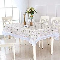 MHKBD-JPの水溶性のレースのテーブルクロス防水および油防止の反火傷防止EVAのテーブルクロスの花のテーブルクロス テーブルクロス (色 : Cherry flower, Shape : Square table)
