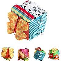4EVERHOPE ベビー 学習 ドレス 知育玩具 幼児 早期教育 基本的なライフスキル 布キューブ ジップ スナップ ボタン、バックル、レース&ネクタイ