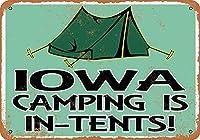 Shimaier 壁の装飾 メタルサイン ウォールアート - Iowa Camping is in-Tents 縦30×横40cm ブリキ看板 店舗装飾 壁面ディスプレー おしゃれ 雑貨 通販 アメリカン ガレージ
